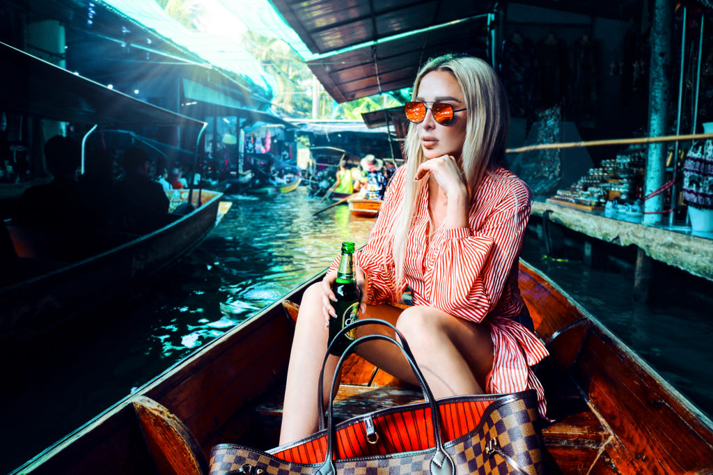 kristina zoe Munich München german model travel blogger fashion blogger deutschland germany miami most popular european blogger hermes gucci dior kristina zoee fashion white high heels luxury white rose gold sunglasses sunnies editorial model Kristina zoee vacation ocean sea vitamin sea blue water blouse red lipstick germany leather blonde luxury editorial lebua sky bar bangkok thailand hangover khao san road floating market